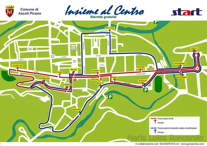 Ascoli Piceno - percorsi delle navette gratuite